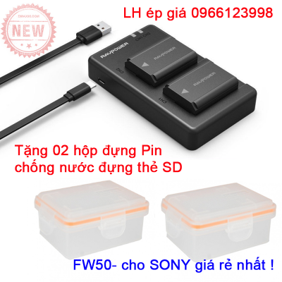 Bộ 02 pin sạc Ravpower FW50 cho máy ảnh Sony tặng 02 hộp đựng pin và thẻ nhớ chống nước