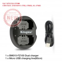 Sạc pin FZ100 cho máy ảnh Sony A7iii, A7riii, A9 chính hãng kingma