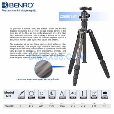 Chân máy ảnh Tripod Benro C2690TB1 Carbon Fiber (Order)