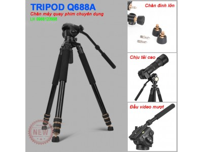 Chân máy quay phim chụp ảnh Tripod Beike Q688A chuyên nghiệp