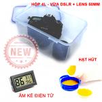 Combo hộp chống ẩm nhỏ 4L + hạt hút + ẩm kế cho 1 máy ảnh 1 lens nhỏ