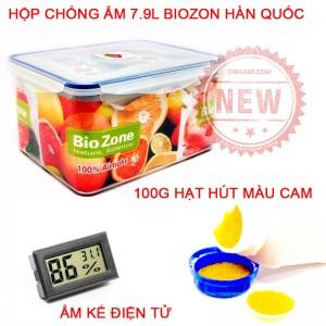 Combo chống ẩm 7.9L Biozon - Ẩm kế - 100g hạt hút màu cam